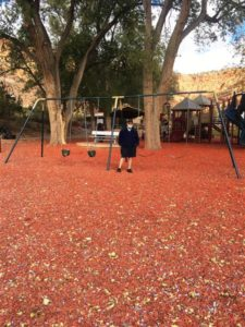 Jim at Kanab playground with stamp particles for base (Medium)