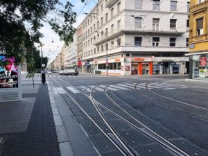 Trolley tracks in front of apartment 2 in Zagreb (Medium)